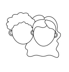 dotted shape couple lover head with hairstyle vector image vector image