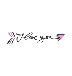 i love you arrow lettering vector image vector image