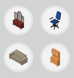 isometric design set of drawer cupboard couch vector image vector image