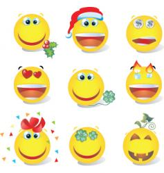 smiley set vector image vector image