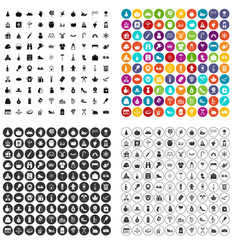 100 family tradition icons set variant vector