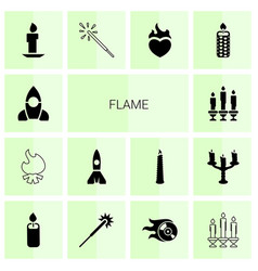 14 flame icons vector image