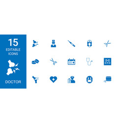 15 doctor icons vector