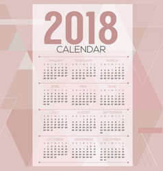 2018 pink pastel geometric printable calendar vector