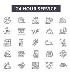 24 hour services line icons editable stroke signs vector image