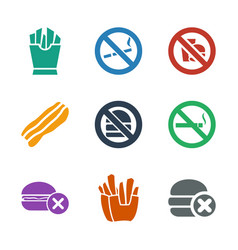 9 unhealthy icons vector