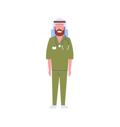 Arab male doctor with stethoscope arabic man vector