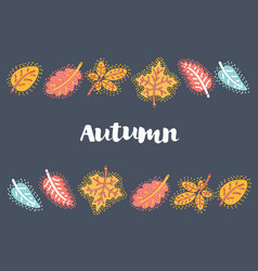 autumn leaves frame on dark background vector image