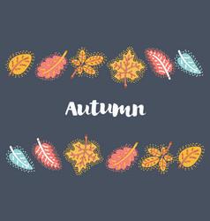 autumn leaves frame on dark background vector image