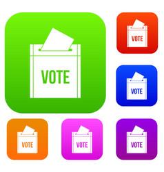 ballot box set color collection vector image
