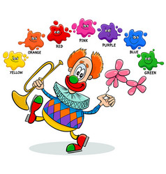 Basic colors educational worksheet with clown vector