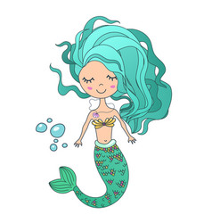 Beautiful cute little siren mermaid hand vector