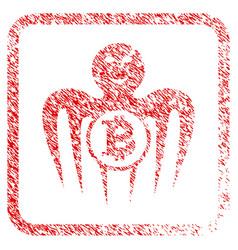 bitcoin happy monster framed stamp vector image