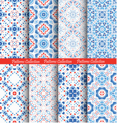Blue flower patterns boho backgrounds vector