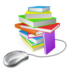 Book stack computer mouse vector
