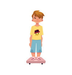 Boy kid child standing still on weight scale vector