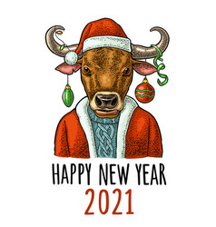 bull santa claus in hat coat sweater vintage vector image