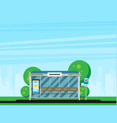 bus stop with city skyline flat design style vector image