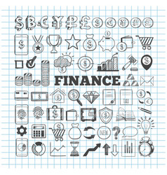 business and finance icons hand drawn vector image
