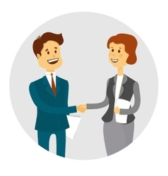 Business people shaking hands finishing up a vector image