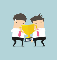 businessmen fighting each other for winning award vector image