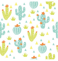 cactuses seamless pattern cactuses and vector image