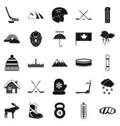 canada icons set simple style vector image
