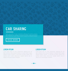 Car sharing concept with thin line icons vector