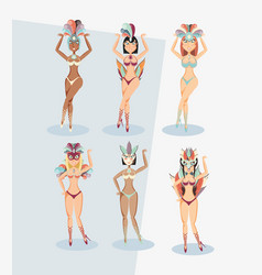Carnival circus show women set in exotic dress vector