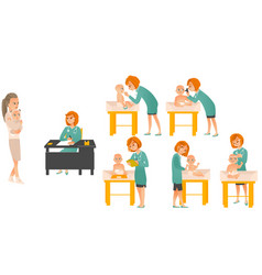Cartoon pediatrician doctors and baby set vector