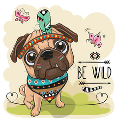 cartoon tribal pug dog and with a feather vector image