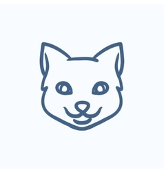Cat head sketch icon vector image