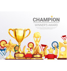 championships winners awards collection poster vector image