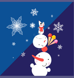 christmas card with snowmen and mouse vector image