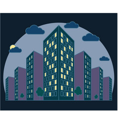 city landscape view at night high buildings with vector image
