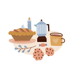 coffee or cocoa mug and sweet pie with cookies vector image