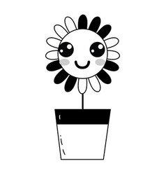 Contour kawaii beauty and happy flower plant vector