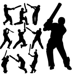 cricket players silhouettes collection vector image