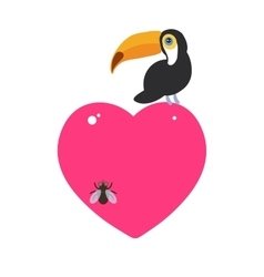 Cute Cartoon toucan bird and the fly Card design vector image