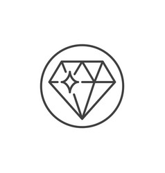 Diamond in circle concept icon in thin line vector