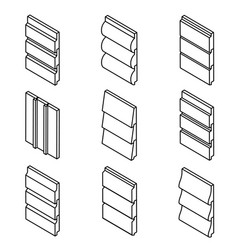 Different siding profiles in isometric view and vector