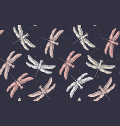 dragonfly seamless pattern pink vintage retro vector image