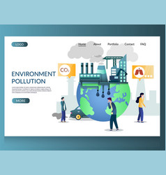 environment pollution website landing page vector image