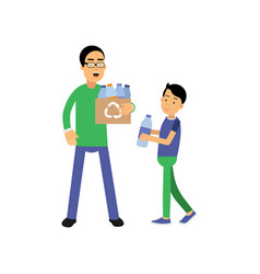 father and son volunteers cartoon characters vector image