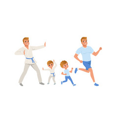 Fathers and their sons doing sports together vector