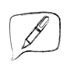 Figure square chat bubble with pen inside vector
