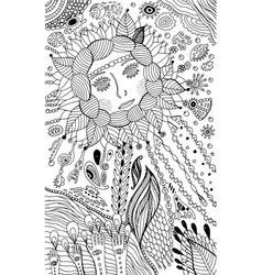 flower woman - coloring page for adults surreal vector image