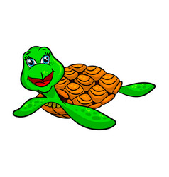 funny cartoon sea turtles vector image