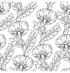 Garden flowers outline isolated on white Seamless vector