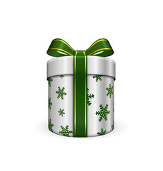 Gift box 3d green ribbon bow isolated white vector